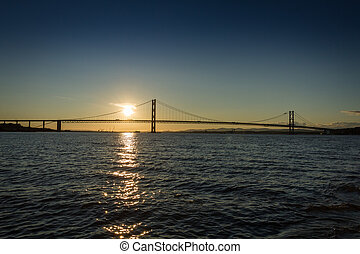 橋, 上に, 川, 日没, エジンバラ