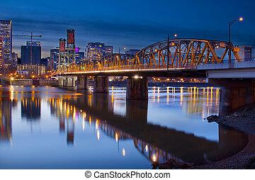 橋, 上に, 川, hawthorne, willamette