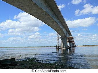 橋, 上に, 建設, river., zambezi