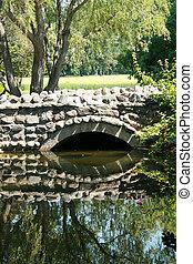 橋, 上に, 池
