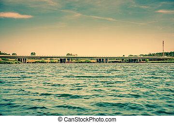 橋, 上に, 湖