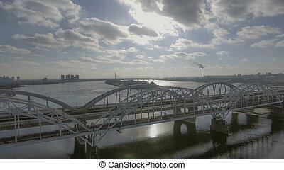 橋, 上に, 飛行, 柵, 鉄, bridge., 道, aeria