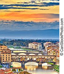 橋, 上に, arno 川, 中に, フィレンツェ