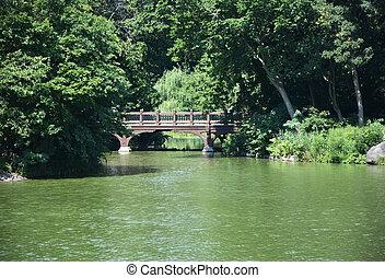 橋, 中に, セントラル・パーク, ny, アメリカ