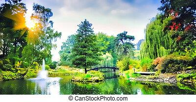 橋, 中に, ∥, 日本の庭