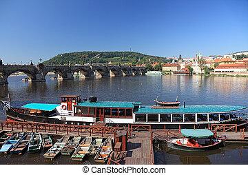 橋, 中央である, チェコ, プラハ, 共和国, 光景