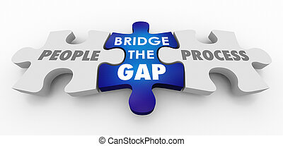 橋, 人々, プロセス, 困惑, イラスト, ギャップ, ∥対∥, 小片, 3d