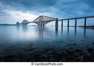 橋, 前に, スコットランド, エジンバラ