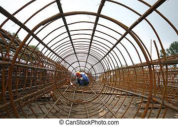 橋, 労働者, 建築現場