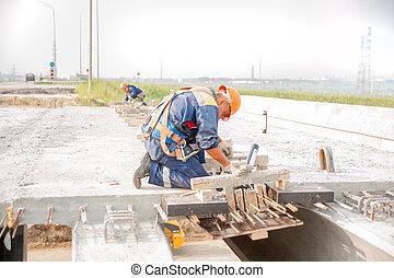 橋, 労働者, 建設