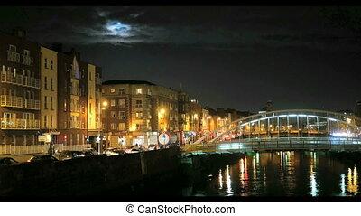 橋, 半ペニー, 夜, 光景