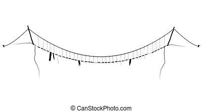 橋, 単純である, シンボル, ロープ, ベクトル, 黒, 掛かること, 懸濁液
