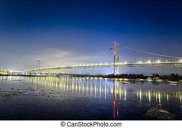 橋, 反射, 海, 夜