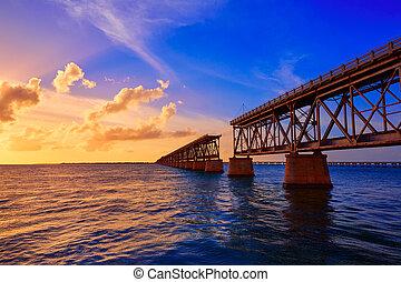 橋, 古い, キー, ホンダ, フロリダ, 日没, bahia