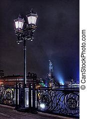 橋, 古い, ランタン, 夜, 川, 横切って, moskva