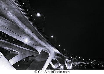 橋, 夜, 現場, 都市