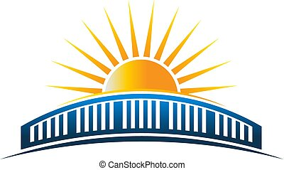 橋, 太陽, 上に, イラスト, ベクトル, 地平線