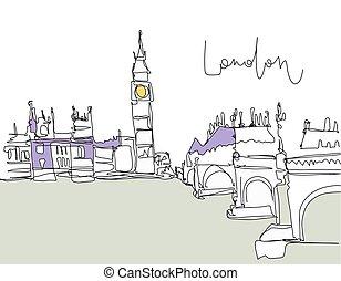 橋, 川, ロンドン, 図画, デジタル