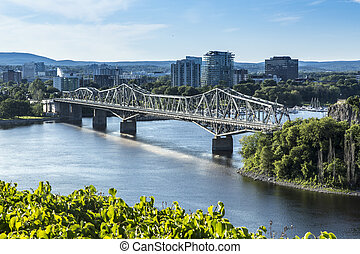 橋, 川, 横切って, オタワ