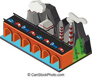 橋, 川, 横切って, 自動車