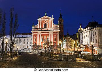 橋, 広場, franciscan, preseren, 3倍になりなさい, 教会