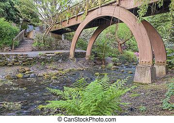 橋, 庭, 木製である, 水晶, フィート, ばね