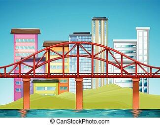 橋, 建物, 現場