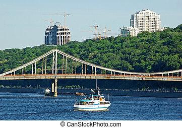 橋, 建築現場, ボート