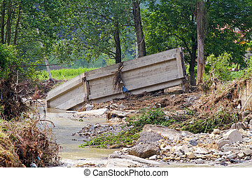 橋, 後で, 氾濫