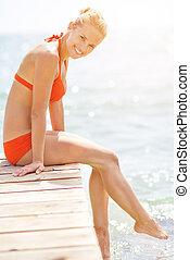 橋, 微笑の 女性, 若い, モデル