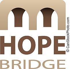 橋, 抽象的, ベクトル, 希望, アイコン