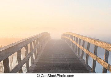 橋, 日の出, 木製である, 密集している, 霧