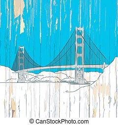 橋, 木, 図画, 門, 金