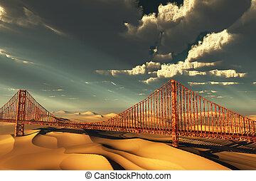 橋, 未来, 荒れ果てている, 門, 金