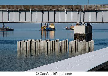 橋, 海峡, 建設, 交差, 新しい, masnedsund