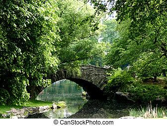 橋, 石, 上に, 池