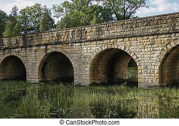 橋, 石, 古代, 上に, 大きくなりすぎた, 池