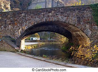 橋, 石, 川, ドイツ, 山