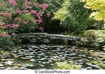 橋, 石, lilly, 上に, 池