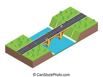 橋, 等大, 自動車, 上に, 木, 川