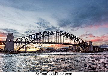 橋, 絵のよう, 空, 画像的, 港, 日没, に対して, シドニー, ランドマーク, オーストラリア人