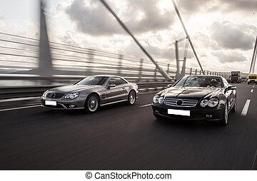 橋, 自動車, 追跡, 現代