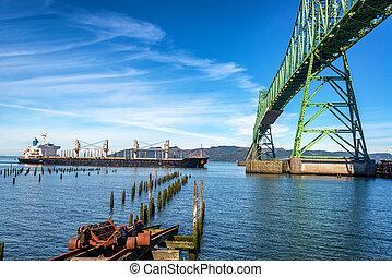 橋, 船, タンカー, megler, astoria