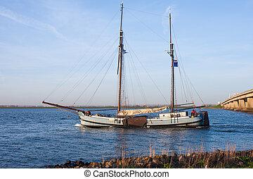 橋, 船, netherlands, 渡ること, 航海
