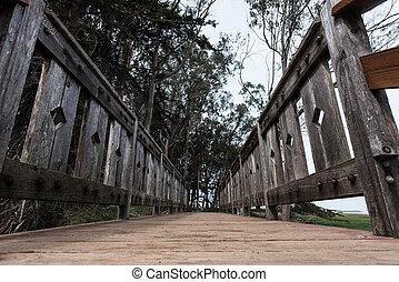 橋, 角度, 木製である, 海洋, 低い, 通り道