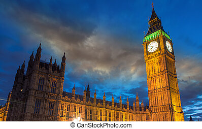 橋, 議会, ベン, 夕闇, 家,  -,  westminster, ロンドン, イギリス, 大きい, 雲