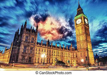 橋, 議会, ベン, 夕闇, 家,  -,  westminster, ロンドン, イギリス, 大きい
