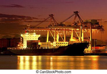 橋, 貨物 容器, 背景, 仕事, 夕闇, クレーン, 造船所, エクスポート, ロジスティックである, 輸入, 貨物...
