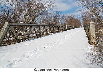 橋, 足跡, 古い, 交差点