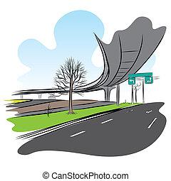 橋, 跨線橋, 空, 列車, 下に, 道